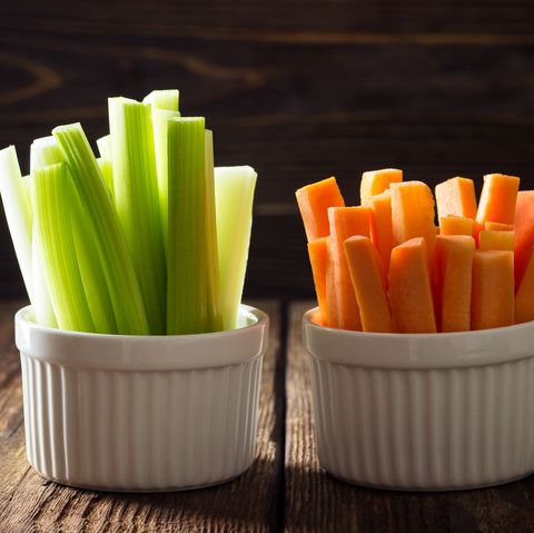 The sticks of carrots and celery.