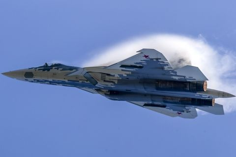 the sukhoi su 57 jet fighter perform its flight display at
