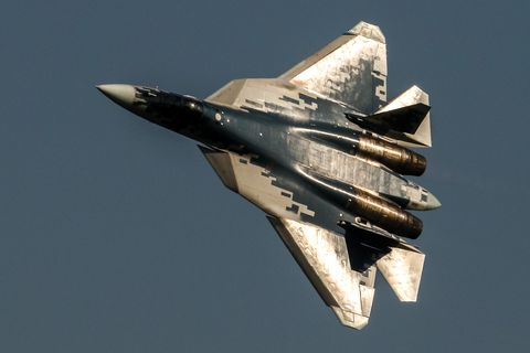 the sukhoi su 57 jet fighter performs its flight display at