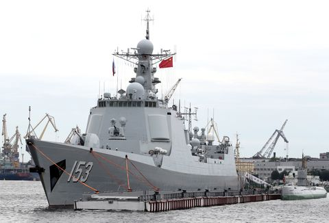 Type 052C destroyer Xi'an in St. Petersburg, Russia, 2019.