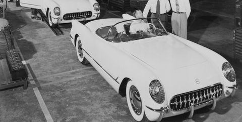 First Corvettes Rolling Off Assembly Line
