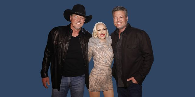 """the voice    """"live semi final results"""" episode 1719b     pictured l r trace adkins, gwen stefani, blake shelton    photo by trae pattonnbcnbcu photo bank via getty images"""
