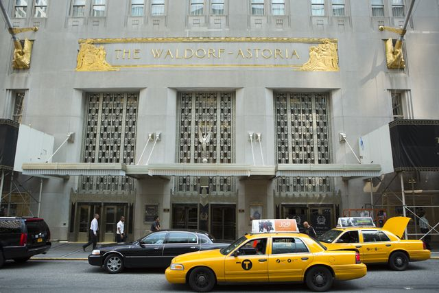 the waldorf astoria new york city with taxi cabs