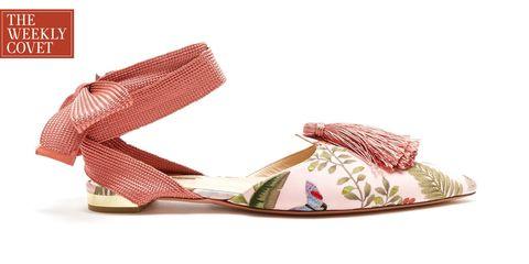 Footwear, Shoe, Pink, Sandal, Wedge, Beige, High heels,