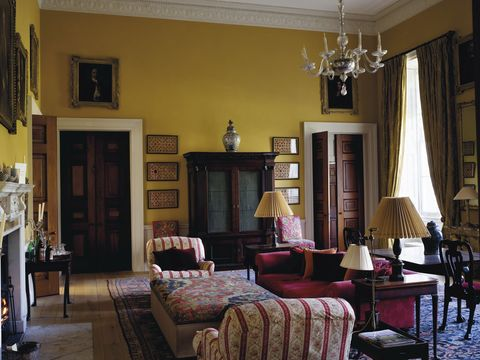 new wardour castle yellow sitting room