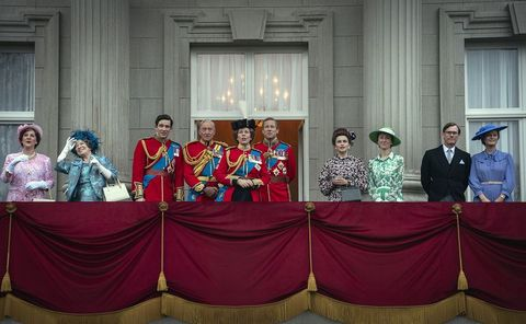 the crown s4 picture shows l r duchess of gloucester penny downie, queen mother marion bailey, prince charles josh o connor, mountbatten charles dance, queen elizabeth ii olivia colman, prince philip tobias menzies, princess margaret helena bonham carter, princess anne erin doherty, duchess of gloucester penny downie and supporting artists