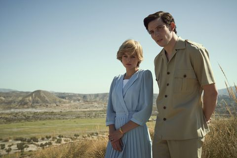 the crown s4 picture shows princess diana emma corrin and prince charles josh o connor shooting location llano del buho, almeria