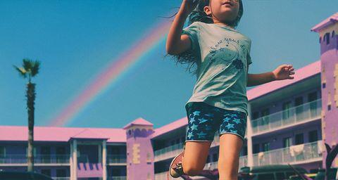 Daytime, Sky, Pink, Fun, Cool, Summer, Rainbow, Leg, Photography, Meteorological phenomenon,
