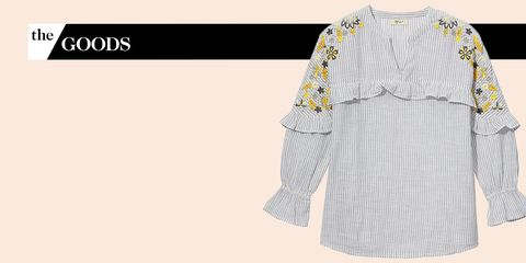 Clothing, White, Sleeve, Yellow, Blouse, Pattern, Dress, Pattern, Outerwear, Embroidery,