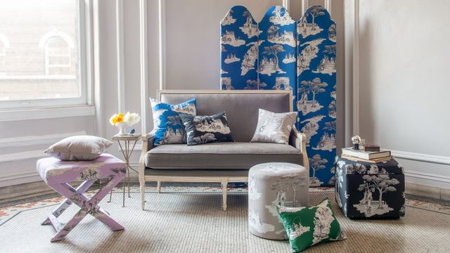 the inside x sheila bridges with furniture upholstered in sheila bridges harlem harlem toile de jouy pattern