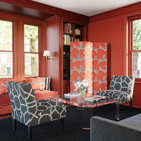 Furniture, Room, Interior design, Orange, Living room, Red, Property, Building, Chair, Home,