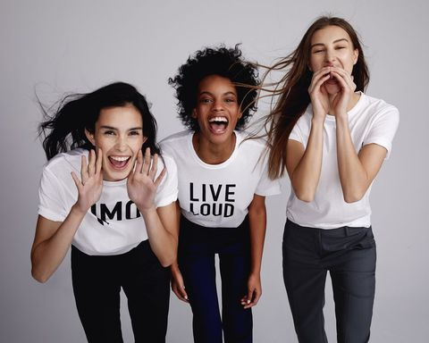 White, Facial expression, People, Social group, T-shirt, Fun, Friendship, Photo shoot, Shoulder, Fashion,