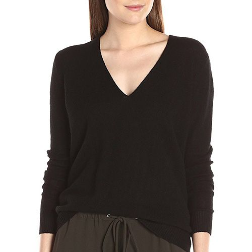 theory v-neck black sweater