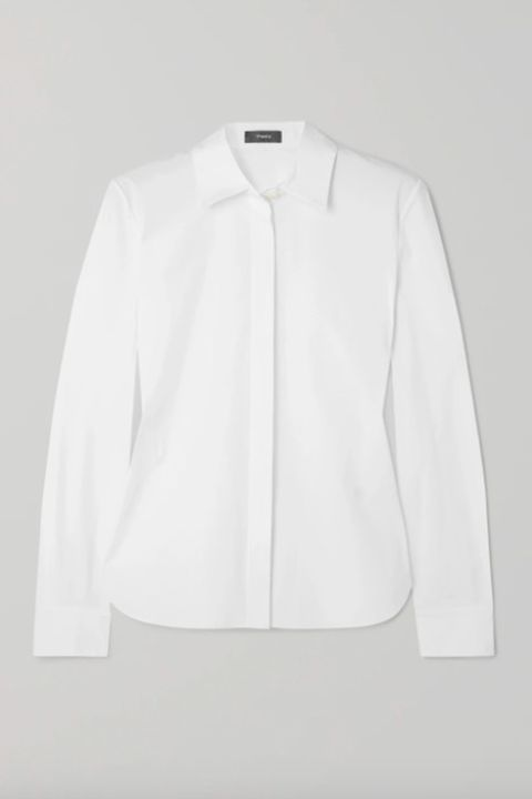meghan duchess of sussex wardrobe, theory white shirt