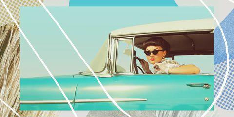 Eyewear, Vehicle, Car, Sunglasses, Illustration, Classic, Vehicle door, Driving, Family car, Vintage car,