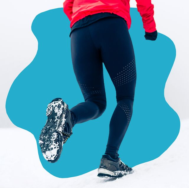 runner in snow wearing thermal leggings, jacket and gloves