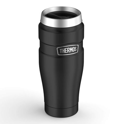 Black Thermos travel mug