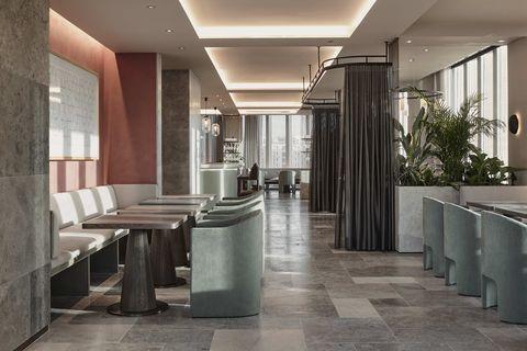 Building, Property, Room, Interior design, Lobby, Floor, Architecture, Column, Ceiling, Tile,