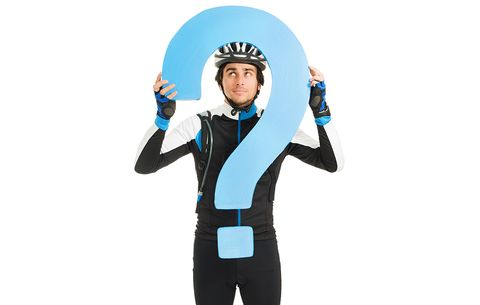 cyclist with question mark