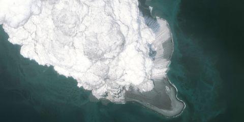 BOGOSLAF VOLCANO, ALASKA - MAY 28, 2017:  This is an AFTER ERUPTION DigitalGlobe satellite imagery of the Bogoslof Volcano, in the Aleutian island chain in Alaska.