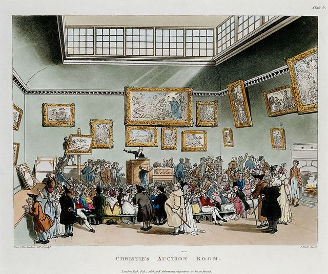 christie's auction room color print after pugin and rowlandson