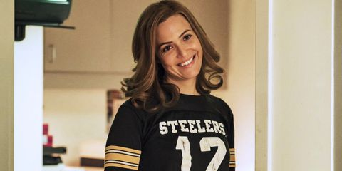 T-shirt, Shoulder, Jersey, Brown hair, Photography, Sportswear, Long hair, Smile, Top, Style,
