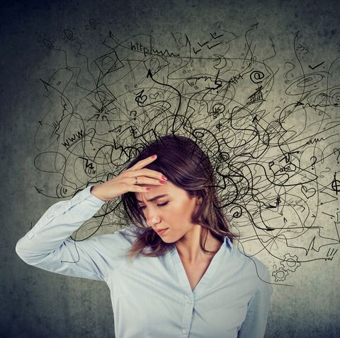 Thoughtful stressed woman with a mess in her head