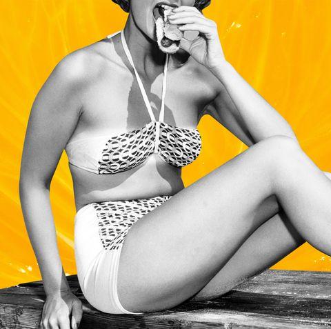 Yellow, Leg, Water, Thigh, Bikini, Human leg, Human body, Swimwear, Photography, Model,
