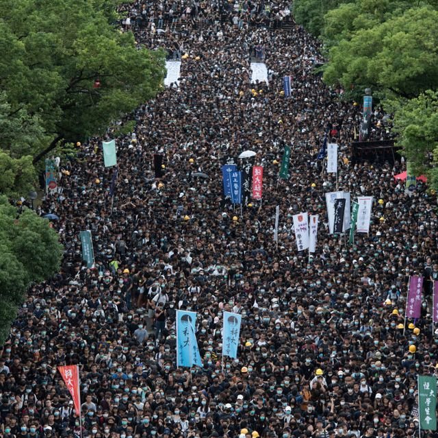 Thousands of students and supporters gather during the rally...