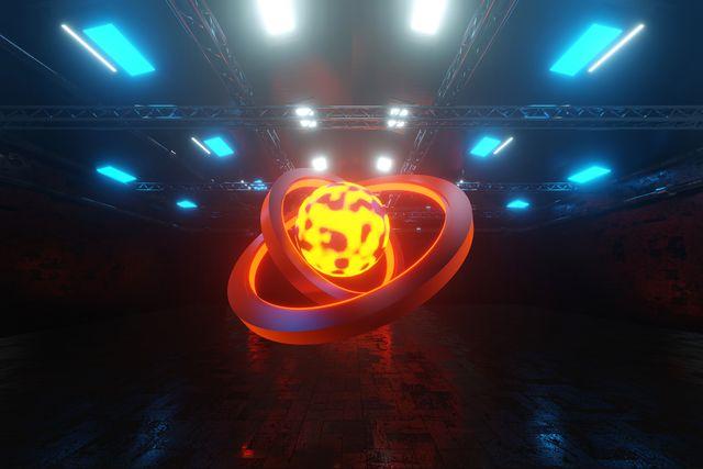 three dimensional render of glowing orb inside dark warehouse