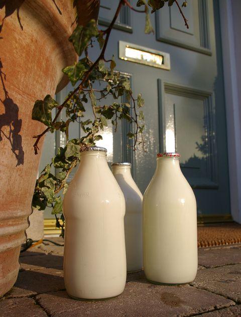 Three pints of milk on a doorstep