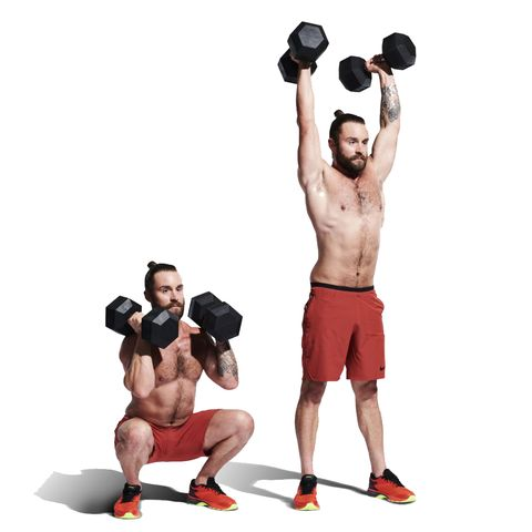 Weights, Exercise equipment, Overhead press, Shoulder, Dumbbell, Physical fitness, Arm, Muscle, Bodybuilding, Standing,