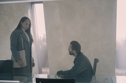 the handmaidís tale    ìmilkî   episode 404    june takes a harrowing journey with janine, trying to escape gilead, as janine remembers a stressful experience in her past in toronto, serena tries to manipulate rita, who seeks advice from moira rita amanda brugel and fred waterford joseph fiennes, shown photo by sophie giraudhulu
