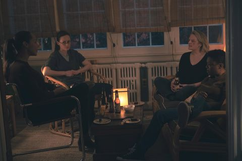 """the handmaid's tale    """"home""""   episode 407    june struggles with her newfound freedom, reuniting with loved ones and confronting her nemesis, serena rita amanda brugel, emily alexis bledel, june elisabeth moss, and moira samira wiley, shown photo by sophie giraudhulu"""