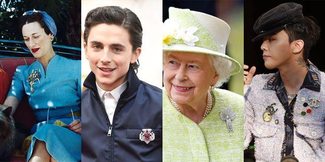 ブローチと聞いて思い浮かべるのは、エリザベス女王? ただし最近では、ティモシー・シャラメもレディー・ガガもtwiceも、こぞってブローチを着用中。マキシマリズムが主流の今シーズンは、たくさん着ければ着けるほど、そして意外な着け方をするほどクールだそう。