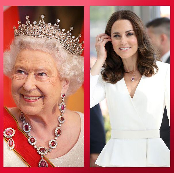 ルビー ジュエリー ロイヤルファミリー 英国王室 エリザベス女王 ダイアナ妃 キャサリン妃 カミラ夫人 メーガン妃