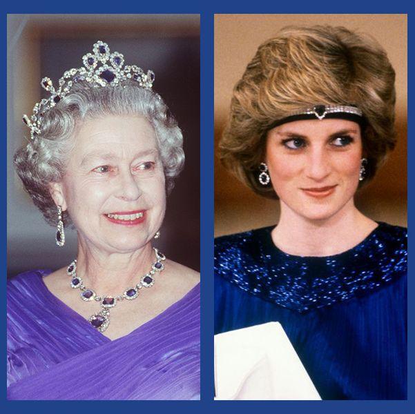 ロイヤルファミリー エリザベス女王 ダイアナ妃 キャサリン妃 メーガン妃 カミラ夫人 ジュエリー サファイア ティアラ ブローチ ネックレス イヤリング 婚約指輪 エンゲージメントリング パリュール チョーカー