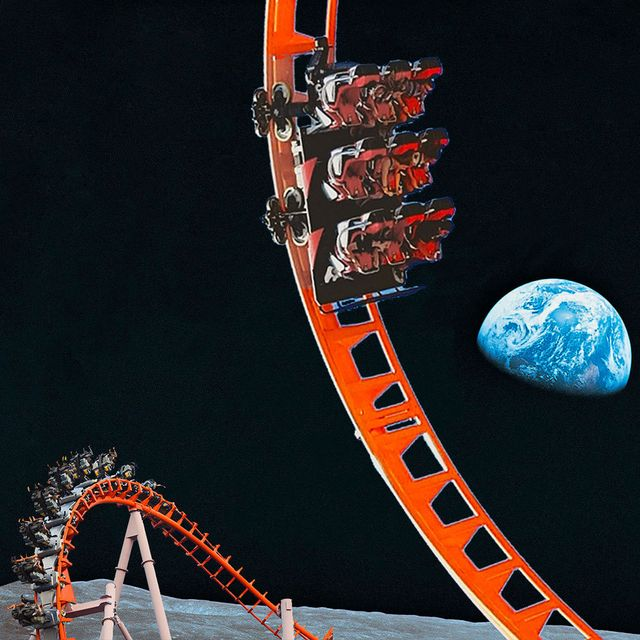 red roller coaster on the moon with earth in background