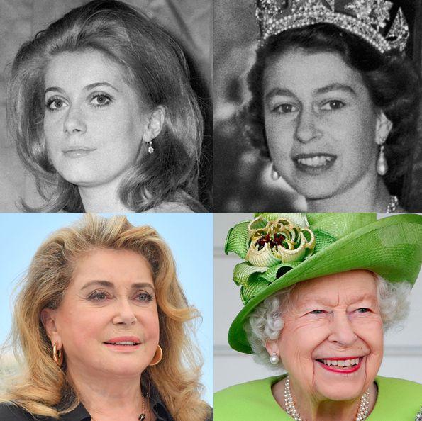 ソフィア・ローレン、カトリーヌ・ドヌーブ、エリザベス女王、カミラ夫人のnow and then