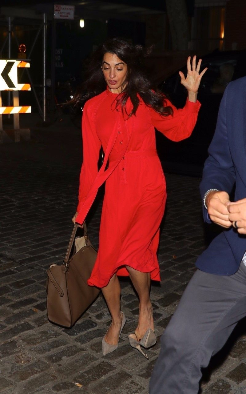 Amal Clooney Just Took A Tumble In A Red Burberry Dress