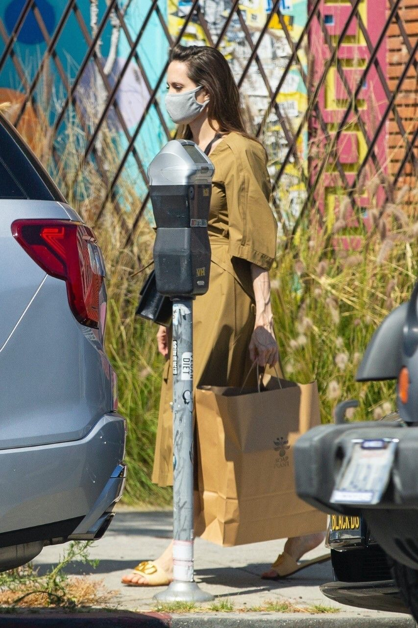 Angelina Jolie Went Shopping in a Chic Tan Tie Dress and Valentino Slides