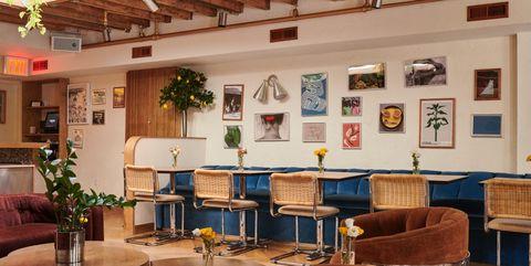 Building, Room, Interior design, Restaurant, Furniture, Lobby, Café, Architecture, Table, House,