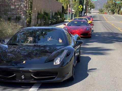 ferrari club parades down la freeways and up socal mountains in blazing heat