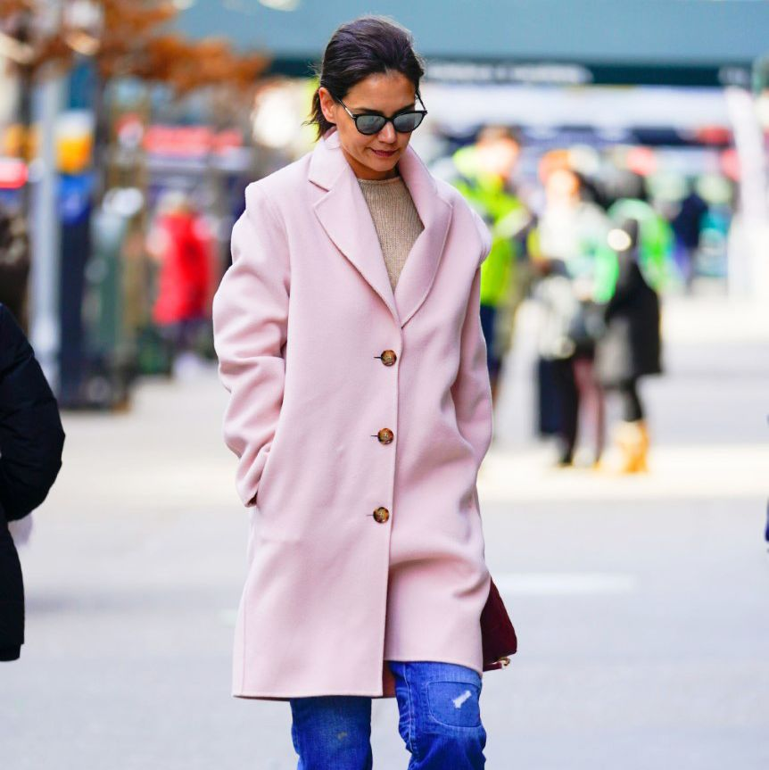 Katie Holmes' Pink Mansur Gavriel Coat Is On Sale