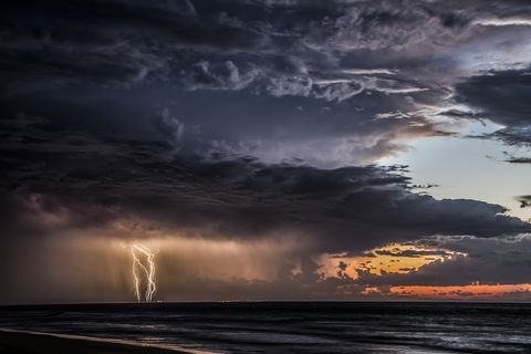 Thunderstorm at sea, Moreton Island, Queensland, Australia
