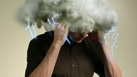 thunderstorm in head of man