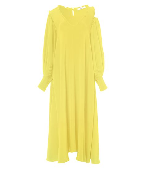 Yellow, Product, Sleeve, Textile, Neck, One-piece garment, Day dress, Fashion design, Costume, Pattern,