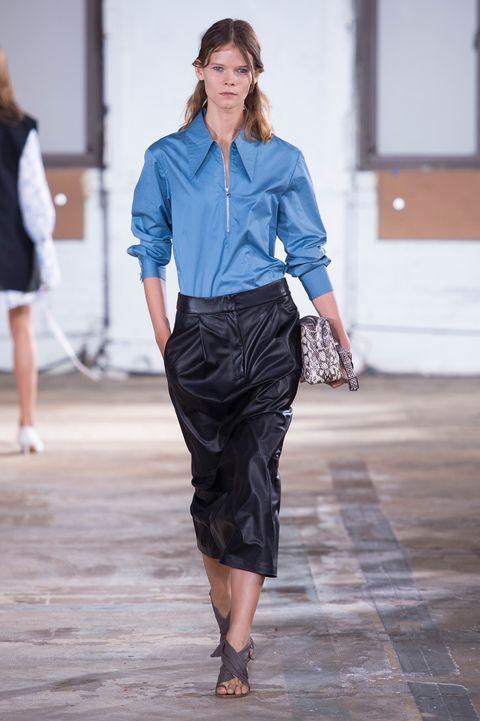 Fashion show, Fashion, Runway, Blue, Clothing, Fashion model, Denim, Street fashion, Waist, Human,