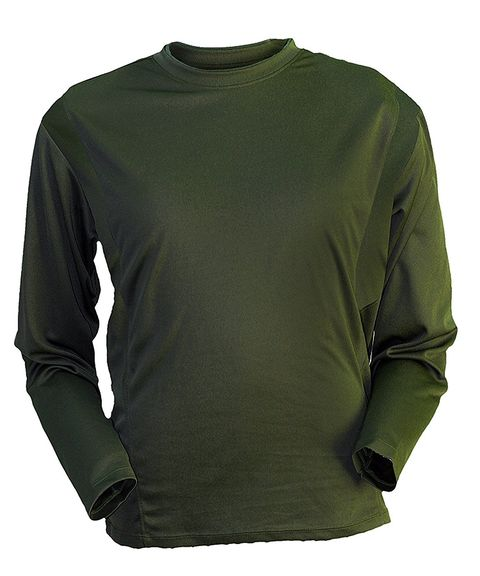 Clothing, Long-sleeved t-shirt, Sleeve, Green, T-shirt, Outerwear, Active shirt, Top, Neck, Sweater,