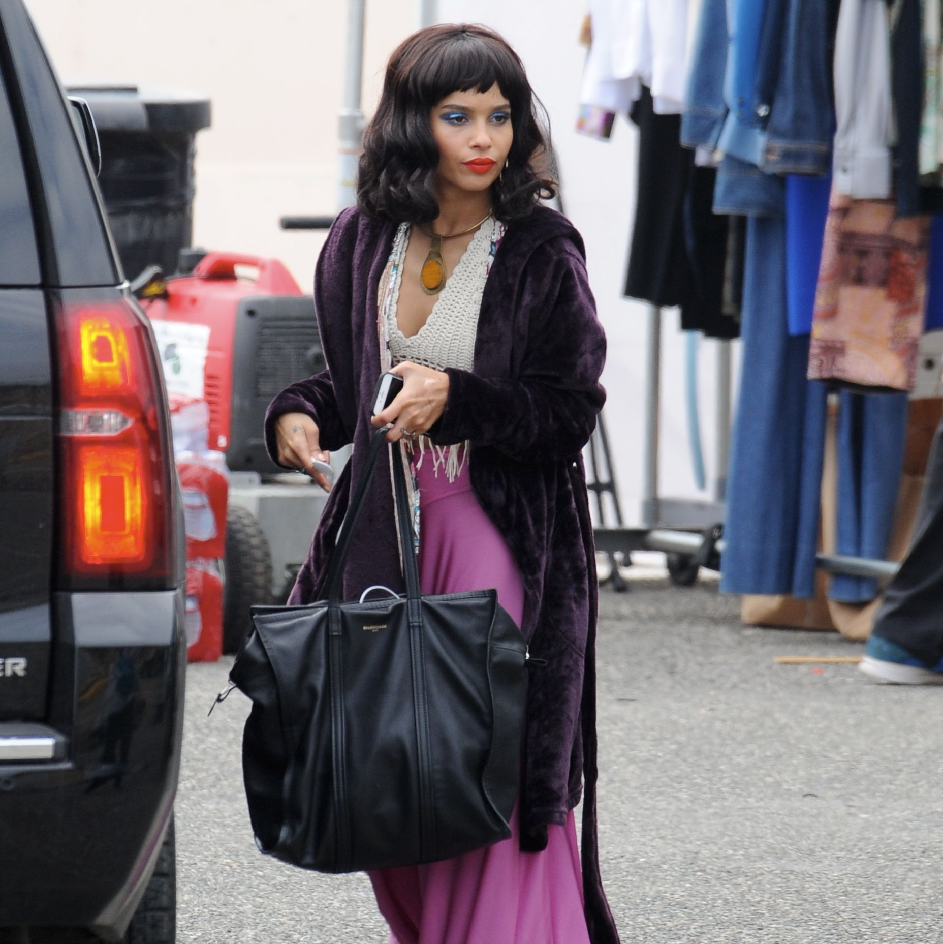 Zoe Kravitz and Laura Dern get into Character before Filming a Scene for 'Big Little Lies' in Los Angeles.